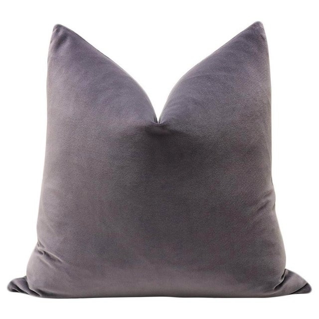 "Pair of 22"" luxurious 100% cotton velvet pillows in a smokey amethyst colorway. Same sided, knife edge finish, hidden..."