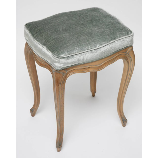 Vintage Louis XV Beechwood Benches / Stools in Blue-Grey Silk Velvet - a Pair For Sale In West Palm - Image 6 of 11
