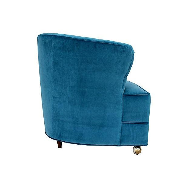 1940s Tufted Velvet Bucket Chair For Sale - Image 5 of 9
