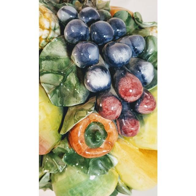 Vintage Majolica Intrada Italian Ceramic Fruit & Vegetable Oversized Basket Pottery Centerpiece For Sale - Image 10 of 12