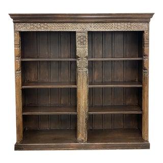 Vintage Hand Carved Indonesia Wood Bookshelf For Sale