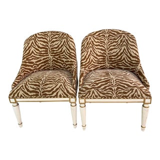 Louis XVI Style Designer Armchairs Faux Zebra Upholstery - a Pair For Sale