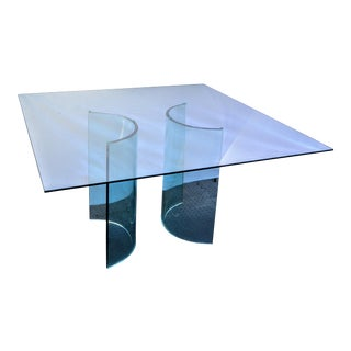Tonon Italy Square Glass Top and Glass Arcs Dining Table For Sale