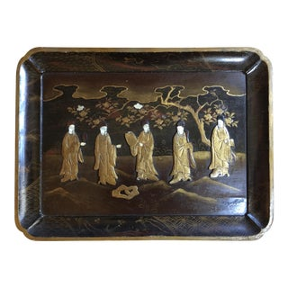 19th Century Japanese Export Lacquered Tray For Sale