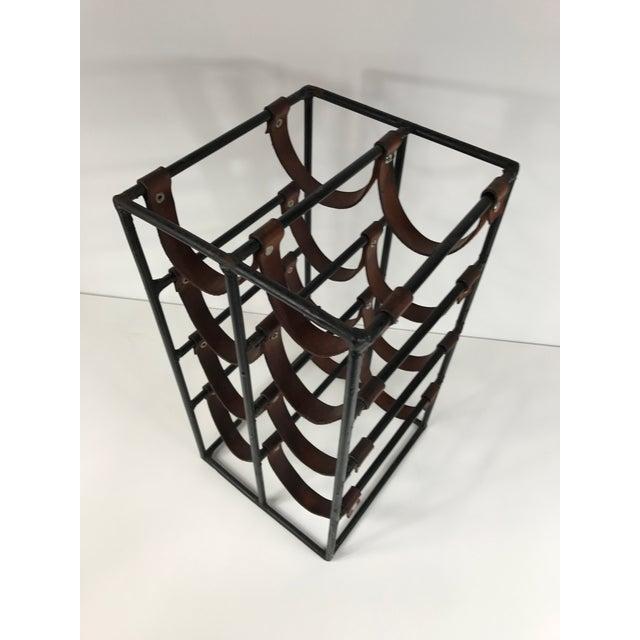 Arthur Umanoff Wrought Iron & Leather Wine Rack - Image 5 of 5