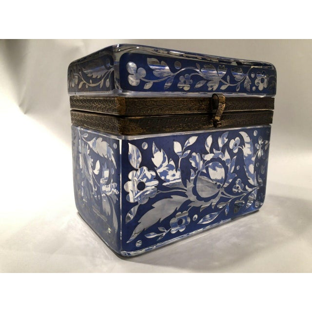 Victorian Antique Bohemian Glass Sugar Casket/ Jewelry/Vanity/Trinket Box For Sale - Image 3 of 13