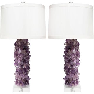 Times Two Design Amethyst Crystal Table Lamps With Silk Drum Shades – a Pair