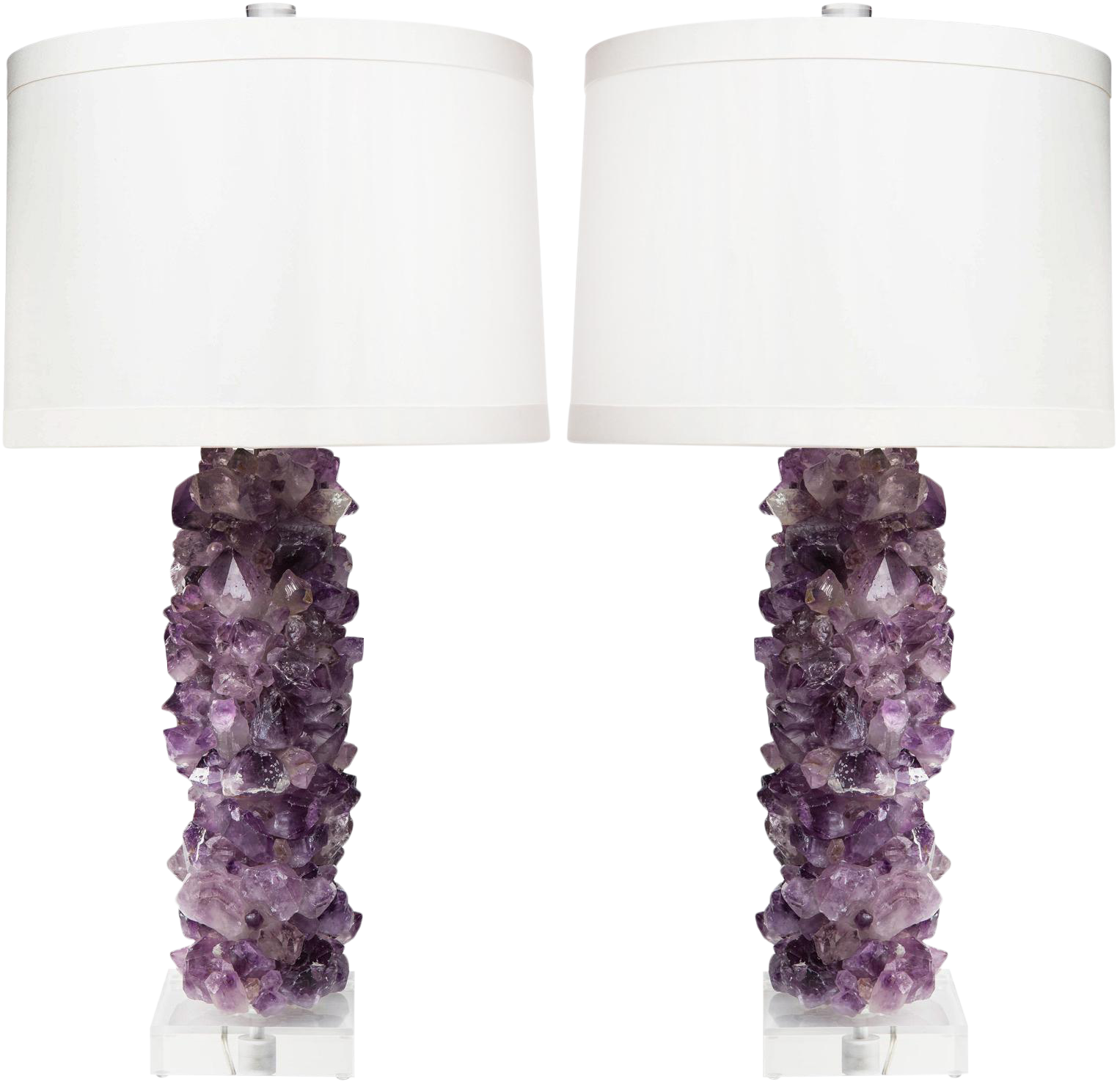 Times Two Design Amethyst Crystal Table Lamps With Silk Drum Shades U2013 A  Pair   Image