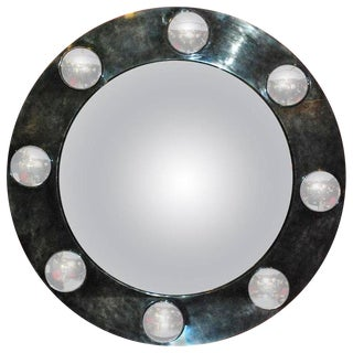 Vintage Large Round Parchment Convex Mirror For Sale