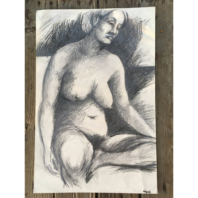 1960 Nude Seated Woman Charcoal Drawing For Sale - Image 4 of 4