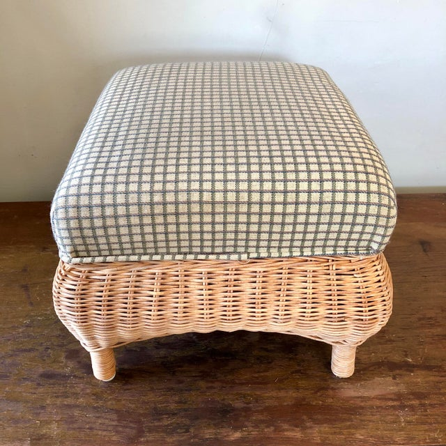 Hollywood Regency Wicker Green Upholstery Footstool For Sale - Image 3 of 5