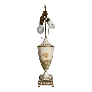 Vintage 1930s French Hand Painted Toleware Table Lamp For Sale