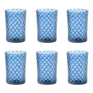 Slate Blue Mandala Drinking Glass - Set of 6 For Sale