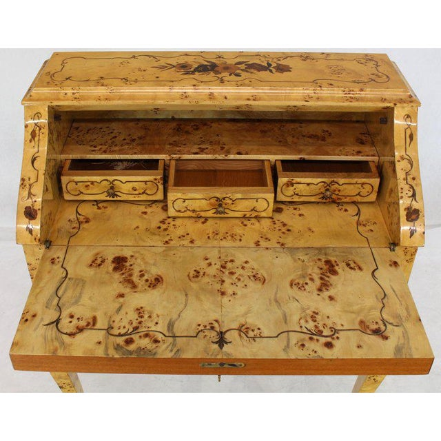 Burlwood Italian Burl Wood Inlayed Drop Secretary Desk With Matching Bench Bronze Ormolu For Sale - Image 7 of 13