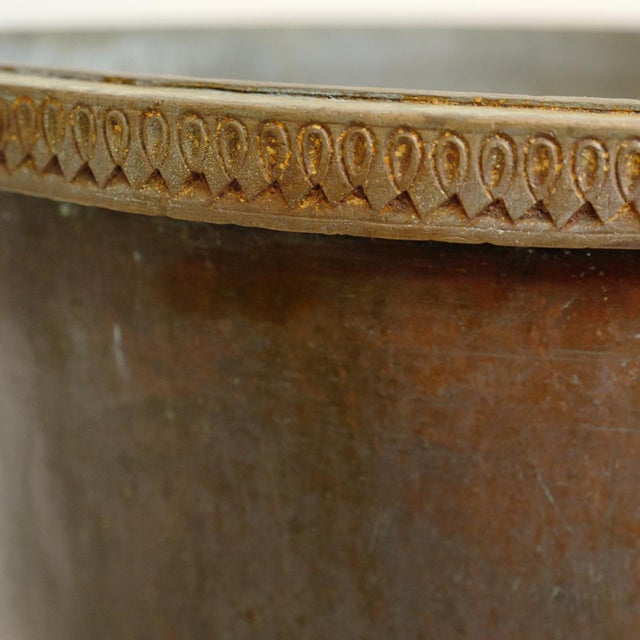 Antique Brass & Copper Hammered Pot For Sale In Los Angeles - Image 6 of 8