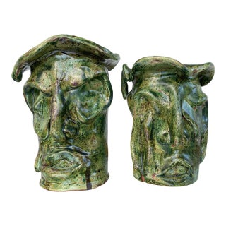 Late 20th Century Hand Thrown Face Vases - a Pair For Sale