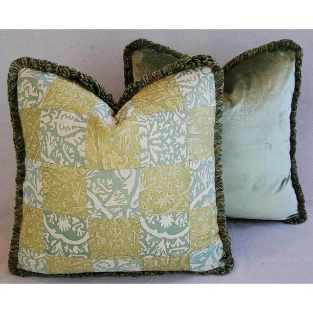 """21"""" Custom Italian Fortuny Piazzetta & Boucher Feather/Down Pillows - Pair - Image 10 of 10"""