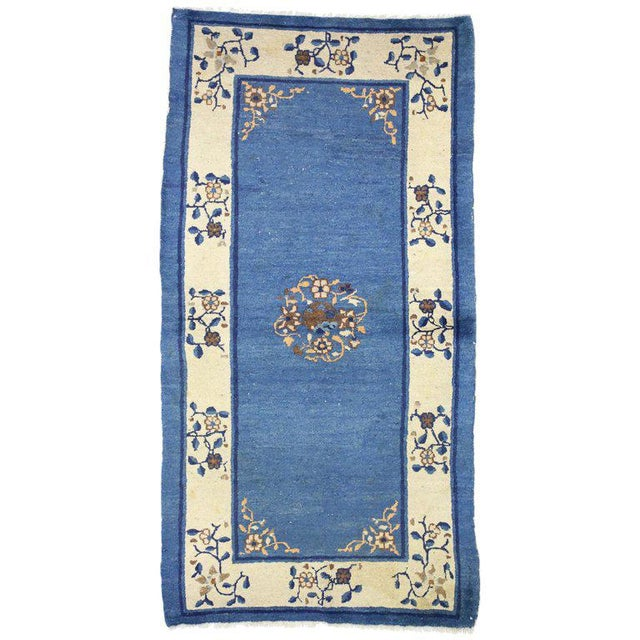 """Blue Early 20th Century Antique Chinese Peking Accent Rug - 3'00"""" × 5′9″ For Sale - Image 8 of 8"""