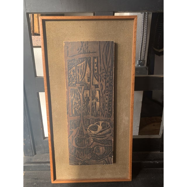 Stunning MCM woodcut on linen in. Period wooden frame with light wear along edges. Great minimalist styling and such an...