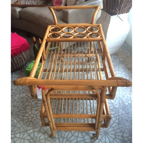 Vintage Bamboo Bar Cart - Image 4 of 4