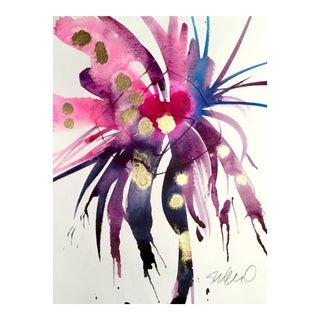 Violet Indigo Bloom Painting For Sale