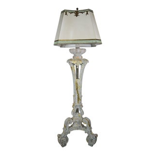 Italian Painted Standing Lamps W/ Parchment Shade For Sale