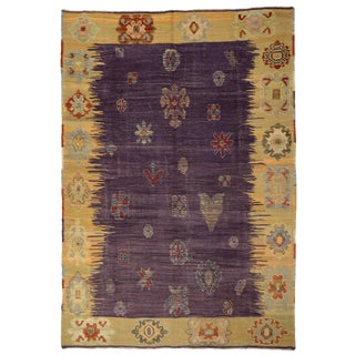 Contemporary Turkish Kilim Rug With Tribal Style For Sale