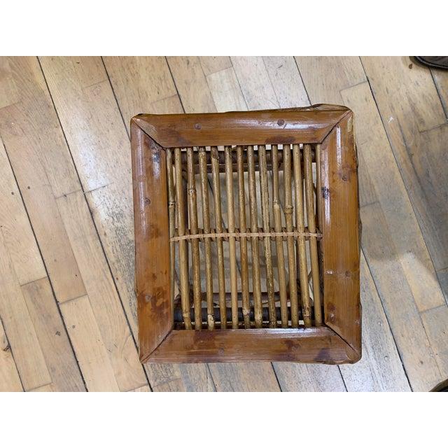 Burnt Umber Vintage Asian Bamboo Nesting Tables - Set of 2 For Sale - Image 8 of 9