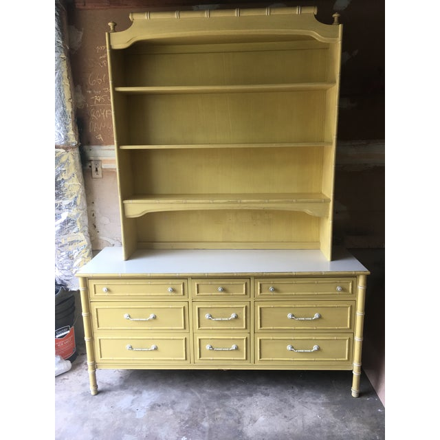 1970s Hollywood Regency Thomasville Faux Bamboo Dresser and Hutch For Sale - Image 13 of 13