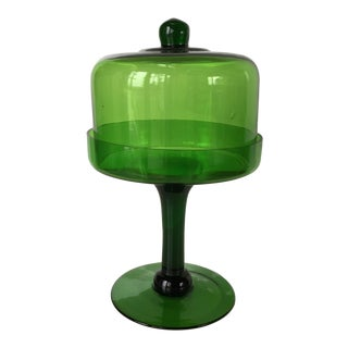 Green Glass Pedestal Stand With Dome Glass Cover For Sale