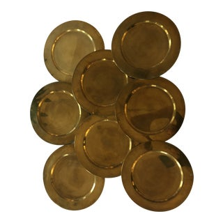 1960s Mid Century Brass Chargers Made in Denmark for Scanmalay - Set of 8 For Sale