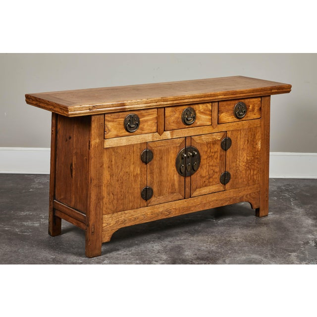 Asian 19th C. Chinese Elm Sideboard For Sale - Image 3 of 9