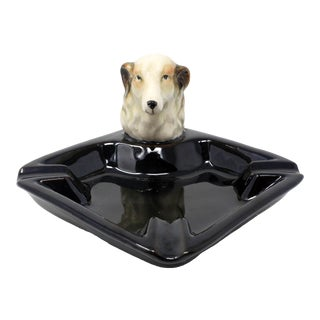 Vintage Made in Japan Collie Dog Figural Ashtray Japanese For Sale