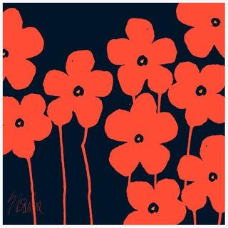 "Fabulous Flowers Orange and Navy Fine Art Print 58"" X 58"" by Liz Roache For Sale"