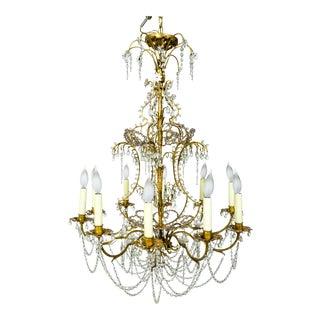 French Crystal Beaded & Brass Curls Ten Light Chandelier For Sale