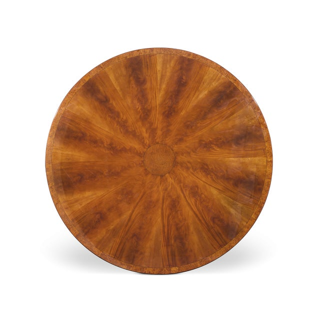 English Traditional Flame Mahogany Round Dining Table For Sale - Image 3 of 5