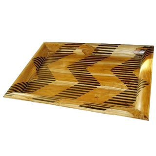 Large Wood Tray With Chevron Pattern For Sale