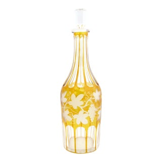 1920s Bohemian Crystal Cut to Clear Amber Decanter With Grapes and Vines For Sale
