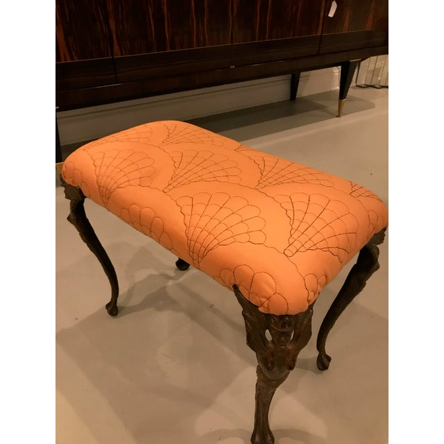 Orange Art Deco Metal Vanity Bench For Sale - Image 8 of 12