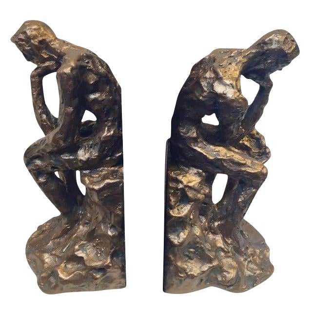 Brutalist Thinking Man Bookends- A Pair - Image 1 of 5