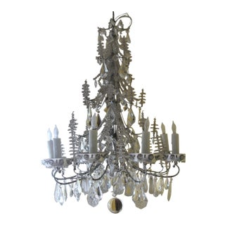 Mid-Century Silvered Steel W/ Cut Crystal & Beaded 8-Light Chandelier =style Bagues For Sale