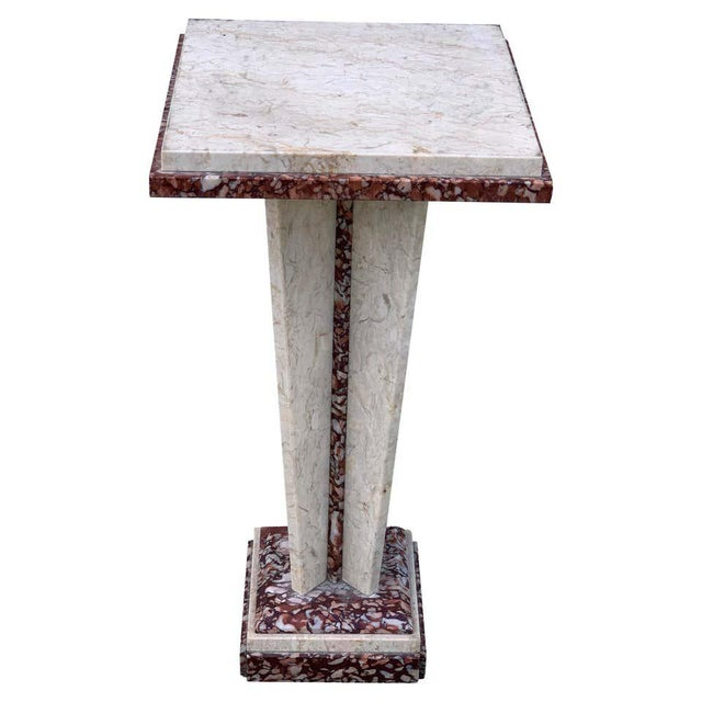 Gray French Art Deco/Modern Marble Pedestal For Sale - Image 8 of 8