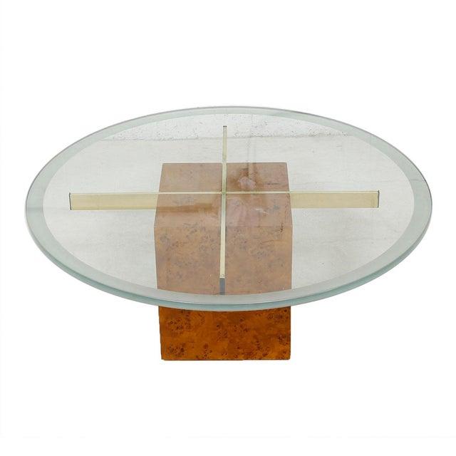 Milo Baughman X-Base Glass & Burled Wood Coffee Table For Sale - Image 9 of 9