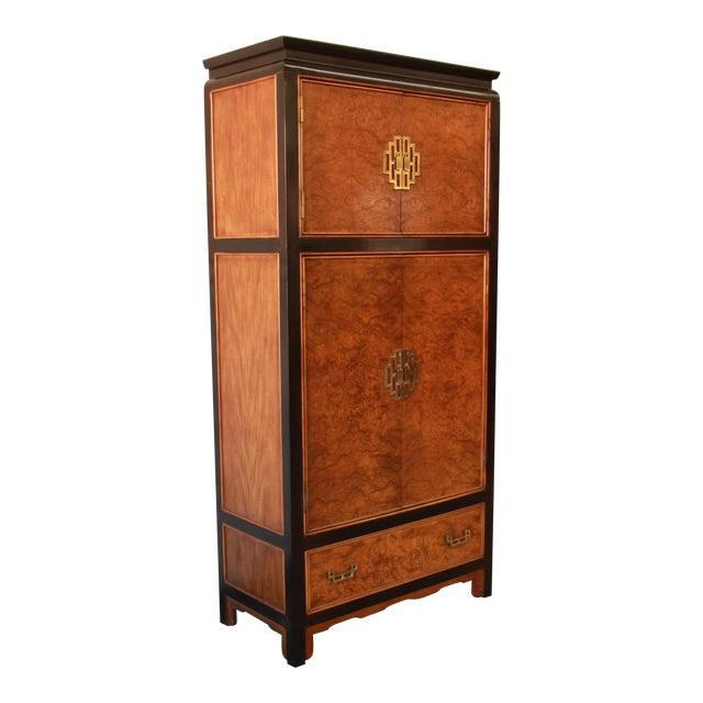 Century Furniture Black Lacquer & Burlwood Armoire - Image 1 of 11