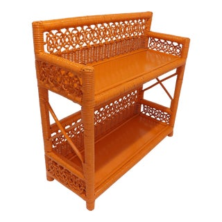 Mid Century Modern Orange Wicker Bathroom Shelf For Sale