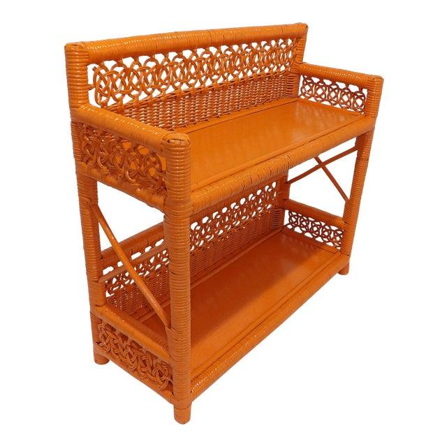 Mid Century Modern Orange Wicker Bathroom Shelf For Sale