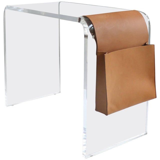 Custom Lucite Waterfall Side Table With Leather Magazine Pocket For Sale