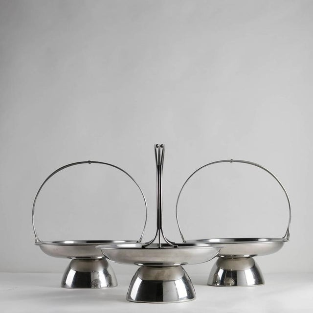 Mid-Century Modern Set of Three Steel Baskets by Gio Ponti for Arthur Krupp, Milano For Sale - Image 3 of 6