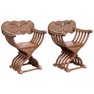 20th Century Solid Teak Wood Exquisitely Inlaid Savonarola Style Chairs- A Pair For Sale