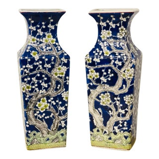 Vintage Hand-Painted Asian Ceramic Vases- a Pair For Sale